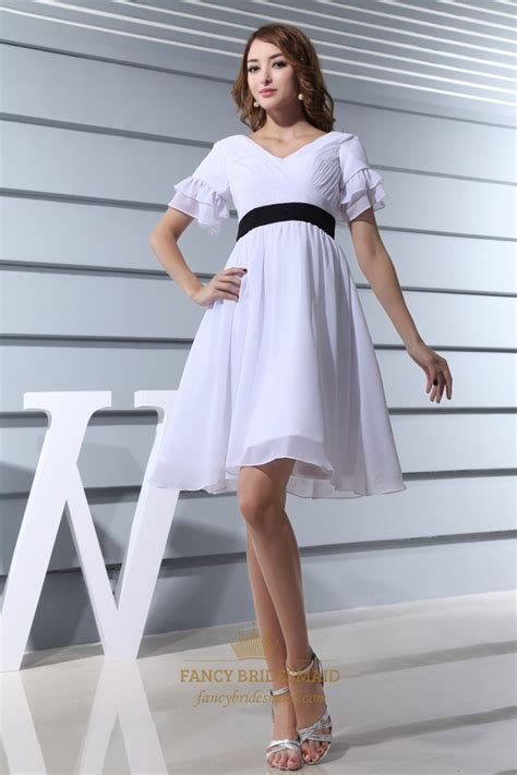 white cocktail dress with black belt white sleeve