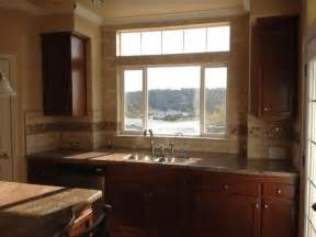 Kitchen Window Backsplash Crema Bordeaux Granite Kitchen Countertops In Grover California Subway Or Brick Pattern