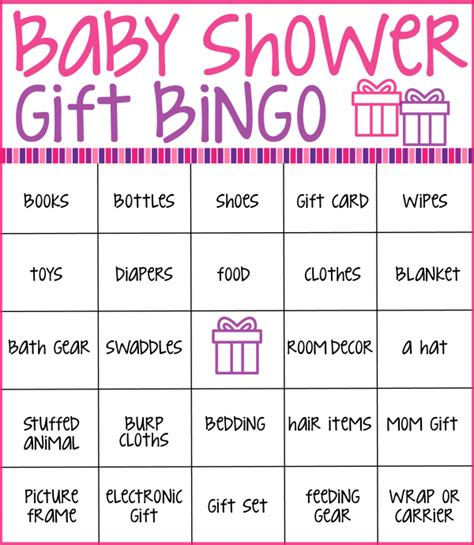 free baby shower bingo card template baby shower gift bingo printable printable 360 degree