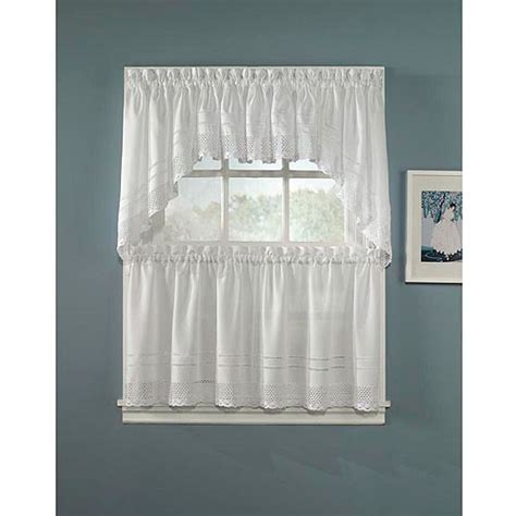 Walmart Curtains Kitchen Chf You Crochet Tailored Tier Curtain Panel Set Of 2 Walmart