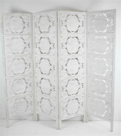 Bedroom Screen Dividers Uk 4 Panel Carved Indian Screen Wooden Swirl Design