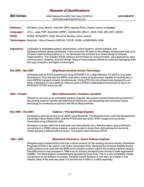 Summary Of Skills Resume by Summary Of Qualifications Resume Sles Resume Ideas