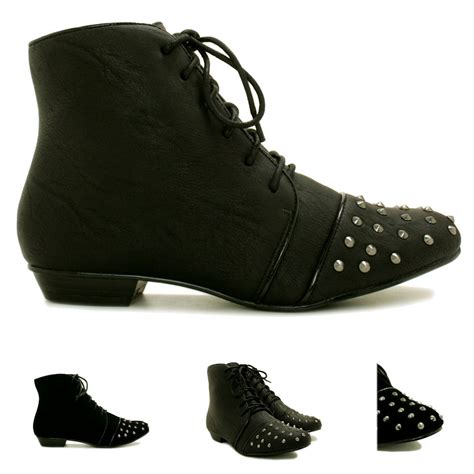 womens flat lace up shoes new womens flat stud lace up ankle boots size ebay