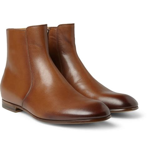 gucci burnished leather boots in brown for lyst