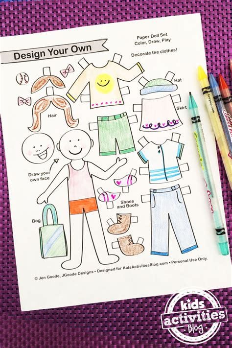 Make Your Own Paper Doll - design your own paper dolls printable