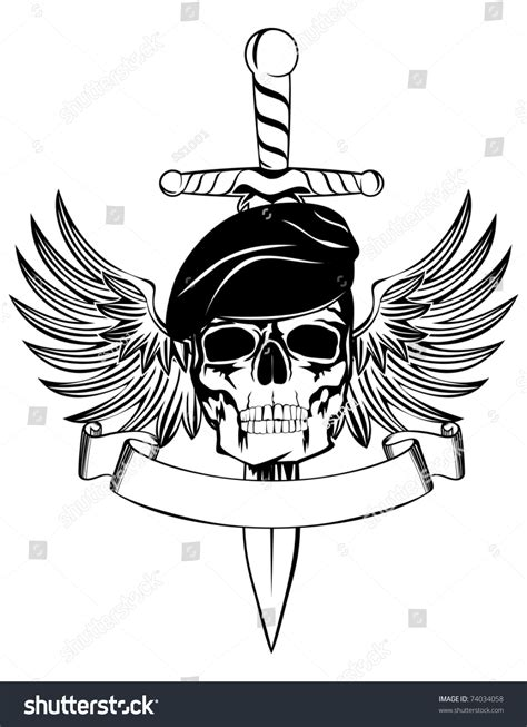 skull beret dagger wings stock vector 74034058 shutterstock
