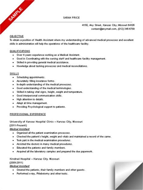 medical assistant resume sle limeresumes