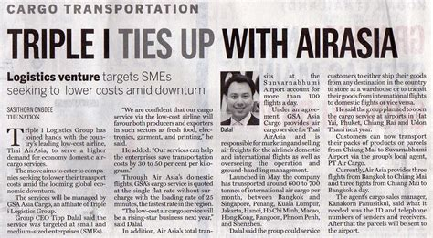 business section of newspaper triple i ties up with airasia gt welcome to hazchem