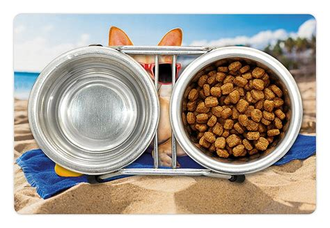Rubber Food Mat - pet mats for food and water by lunarable chihuahua