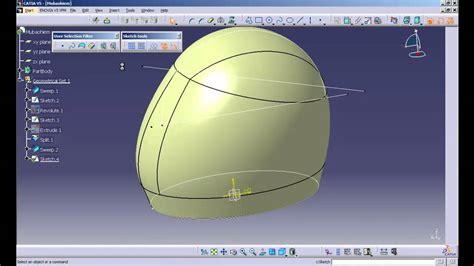 helmet design catia catia v5 r20 simple helmet design clip1 mp4 youtube