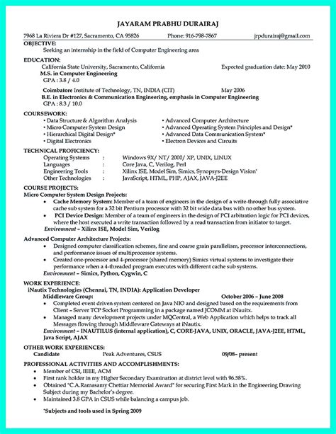 Resume Format For Computer Hardware Engineer The Computer Engineering Resume Sle To Get Soon