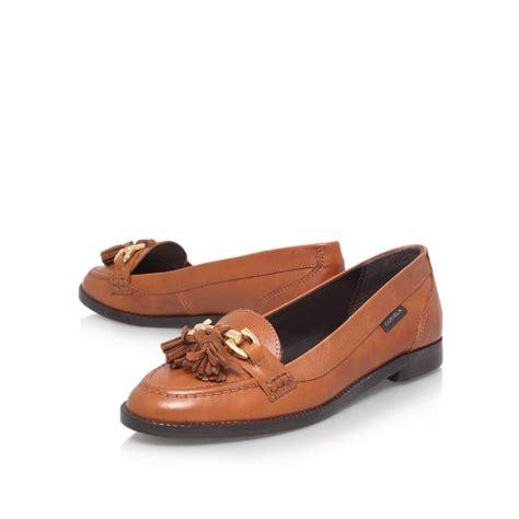 carvela loafers carvela kurt geiger list flat slip on loafers in brown lyst