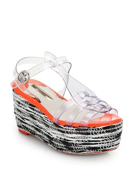 Wedges Jelly Permata Bbl501 2 webster suki jelly platform wedge sandals lyst