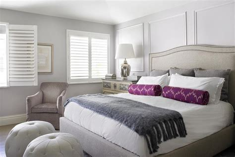purple grey white bedroom purple and gray bedroom with light gray ceiling transitional bedroom sherwin