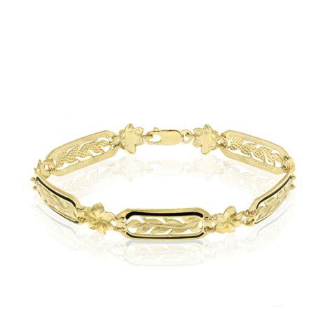 maile and plumeria link bracelet with black border