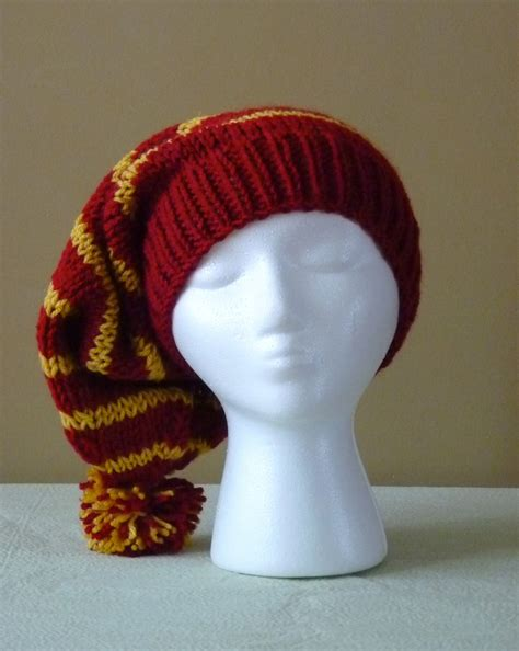 harry potter knit hat chunky knit slouchy hat gryffindor colors