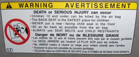 Airbag Warning Sticker