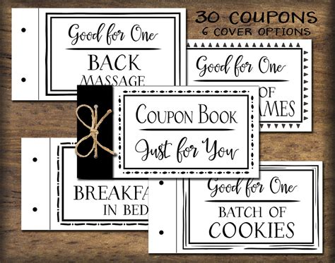 black and white printable love coupons coupon book printable black white instant download diy