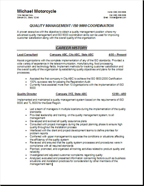 Quality Assurance Resume Exles by Quality Resume Sainde Org