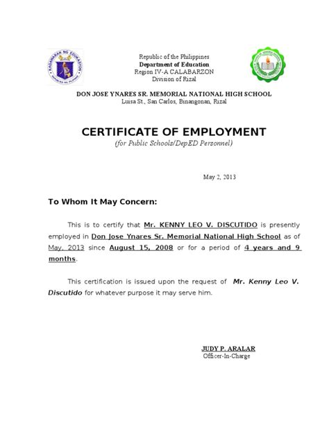 Certificate Of Employment Certificate Of Employment Template