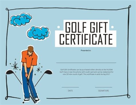 golf gift card template 13 free printable gift certificate templates birthday