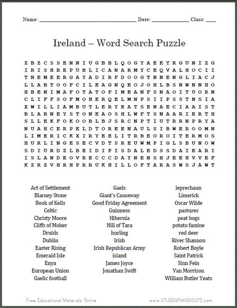printable word search social studies ireland word search puzzle free printable worksheet