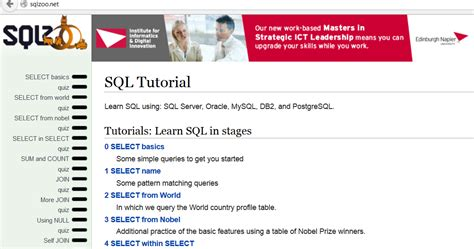 5 websites to learn sql for free