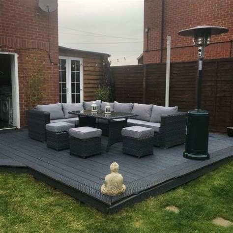 deck furniture ideas 9 seater rattan garden furniture grey decking garden