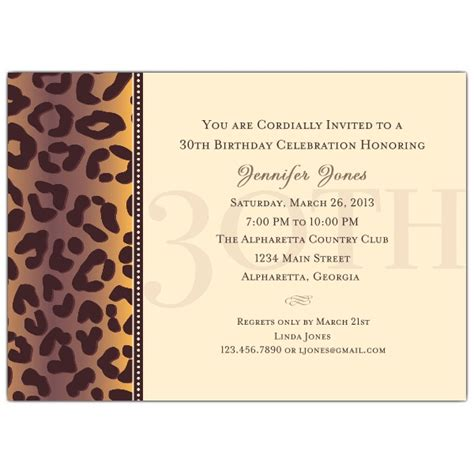 invitation for 30th birthday wording cheetah 30th birthday invitations paperstyle