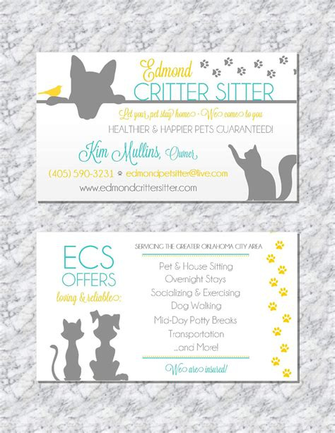 template for cards for servicemen and pet sitting business card animal business card pet