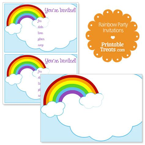 rainbow invitation card template printable rainbow invitations printable treats