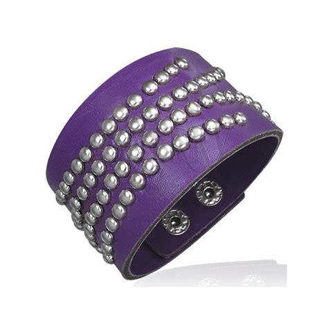purple bracelet leather imitation studded jewelry eshop