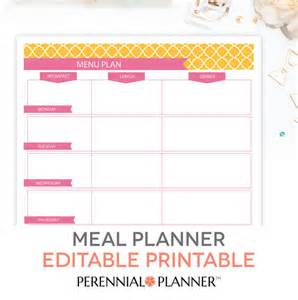 Editable Menu Planner Template menu plan weekly meal planning template printable editable