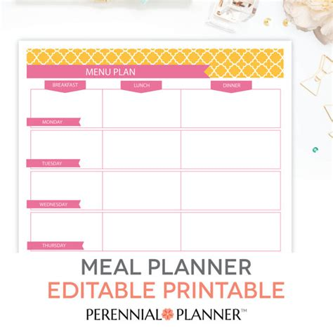 breakfast lunch and dinner menu template menu plan weekly meal planning template printable editable