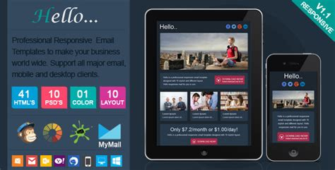 Hello Professional Responsive Email Template By Actualpixel Themeforest Professional Responsive Website Templates