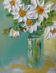 White Textured Vase Original Oil Painting Impasto Daisy Flowers Bouquet On Canvas