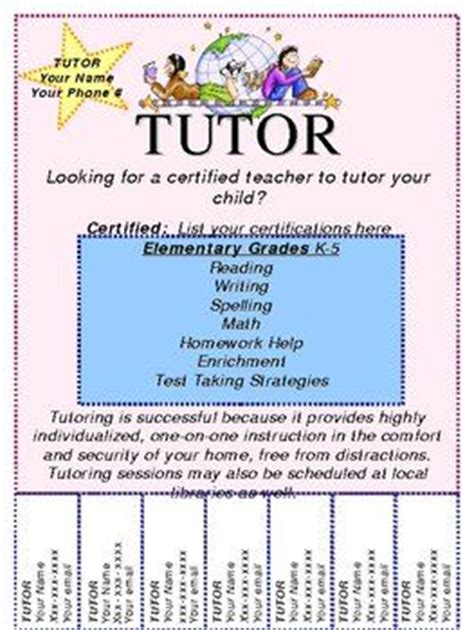 customizable tutoring flyer pinterest names flyers