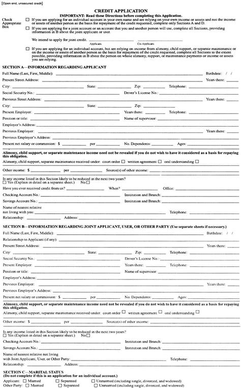 Credit Facility Form Format Employment Exchange Card Application Form Employment Application