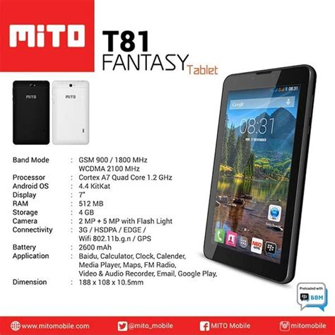 Jual Touchscreen Mito Tab T81 Baru Spare Part Tools Handphon jual tablet mito t81 android kitkat quadcore dual gsm 3g lcd 7 inch ram 512mb 5mp flash