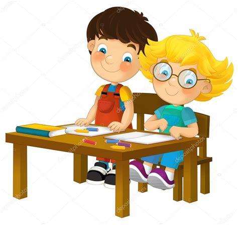 imagenes niños sentados ni 241 os de dibujos animados en el escritorio de la escuela
