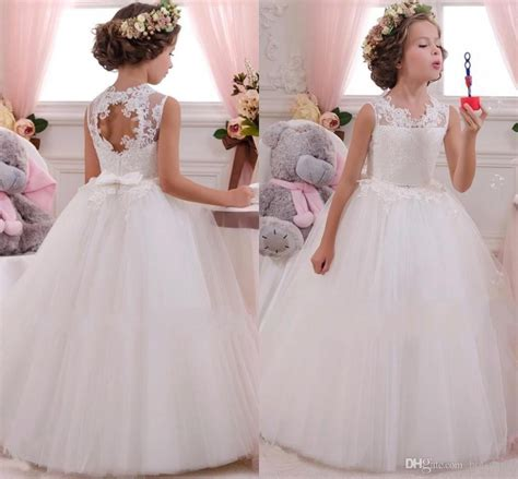 White Flower Dress Excellent Quality high quality white lace flower dress for wedding glitz pearl pageant dresses for