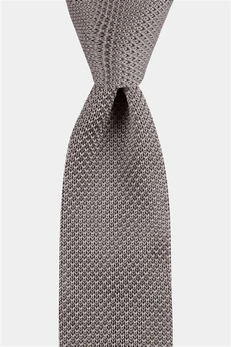 silver knit moss silver knitted tie