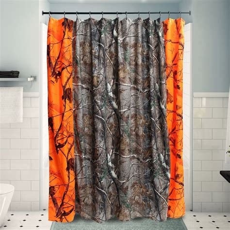 realtree camo shower curtain realtree ap blaze orange camo fabric shower curtain