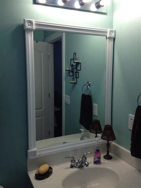frame a bathroom mirror with molding framed bathroom mirror cut molding and paint used to
