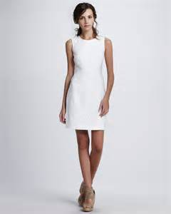 laundry by shelli segal laundry by shelli segal lacedetail linen dress in white optic white lyst