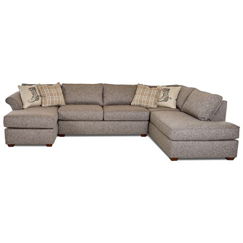 klaussner sectional sofa klaussner jaxon three sectional sofa with flared