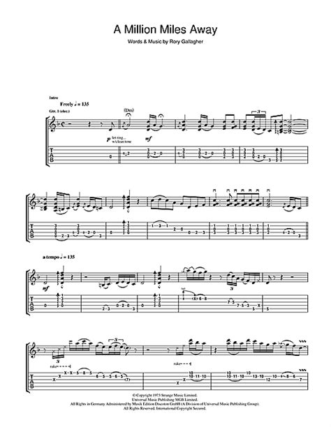 tattoo lady rory gallagher chords rory gallagher a million miles away sheet music