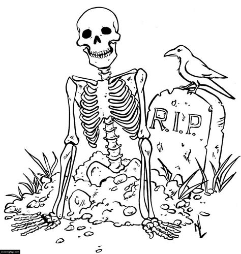 skeleton and r i p grave halloween coloring page for kids
