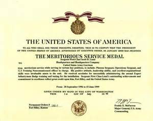 Scott s meritorious service medal certificate from serving at fort