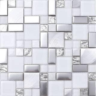 shop houzz mosaic decor white gray metal glass mosaic